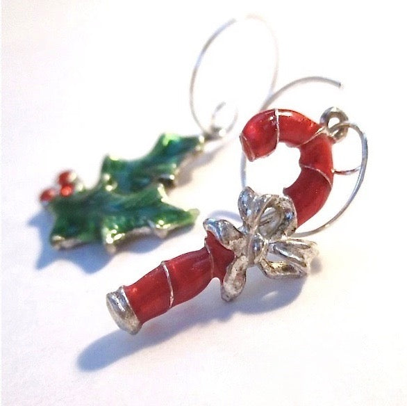 Mismatched Holiday Earrings, Christmas Holly and Candy Cane