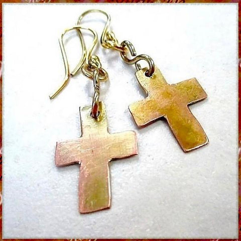 Christian Jewelry: Solid Copper Dangle Earrings, Rustic Old Rugged Cross Drops handmade by Rough Magic Creations jewelry for women.