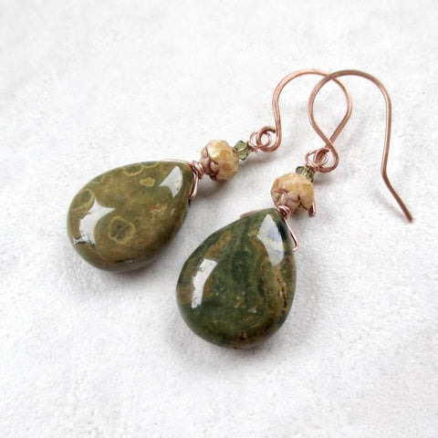Olive Green Earrings with Earth Tone Stones, Glass Roses, Copper