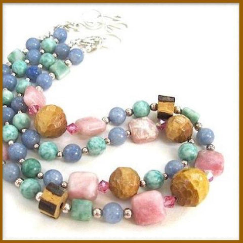 Pastel Boho Necklace with Mixed Stones, pink blue green gemstones, hand carved wood, Swarovsik crystals & Sterling Silver, Handmade jewelry for women, made in Maine, USA, by Rough Magic Creations, one of a kind artisan design handcrafted in America.