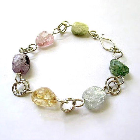 Pastel Gemstone Bracelet Sterling Silver, Multicolor Stones Pink Green Purple Aqua