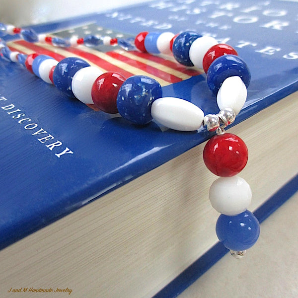 Patriotic American Pendant Necklace Beaded in Red White & Blue with Sterling Silver Clasp