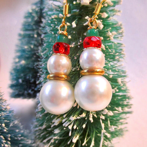 Pearl Snowman Christmas Earrings