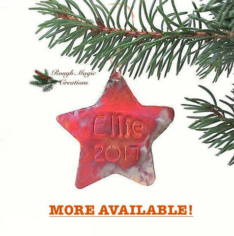 CUSTOM ORDER Personalized Copper Star Christmas Ornament