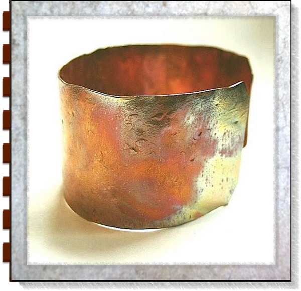 Primitive Copper Cuff Rustic Hammered Metalwork Bracelet