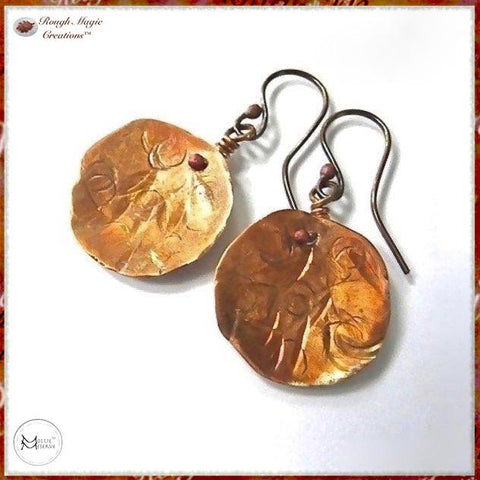 Primitive Copper Sunshine Earrings, Hammered Disc Dangles