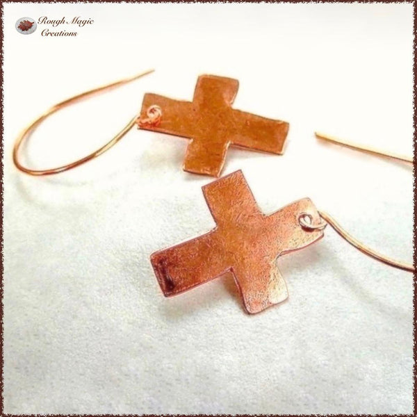 Primitive Cross Christian Earrings, Rustic Copper, Religious Jewelry