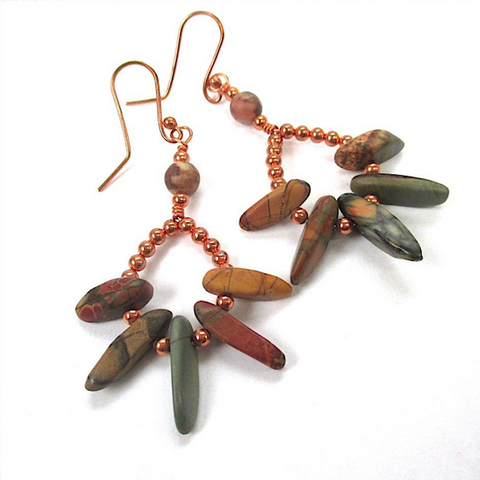 Red Creek Jasper Earrings, Earth Tone Dangles, Gemstone Spikes, Copper