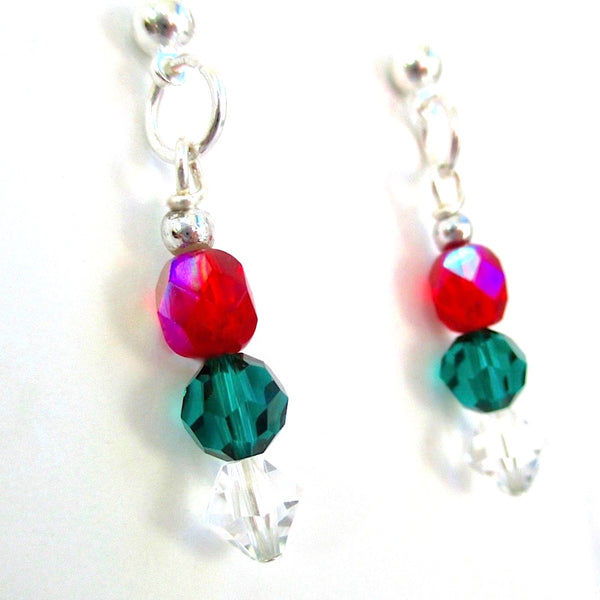 Red green and clear Christmas earrings with stacked dangles and silver components and ball post stud backs, festive holiday jewelry for women. Handmade Jewelry, made in America.