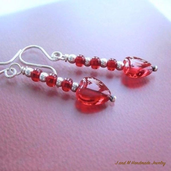 Red Hearts Sterling Silver Earrings
