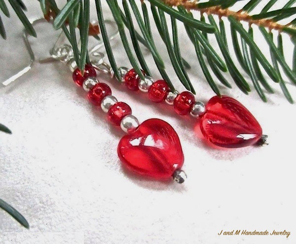 Red Hearts Sterling Silver Earrings Handmade Valentines Day, Christmas and Holiday Jewelry