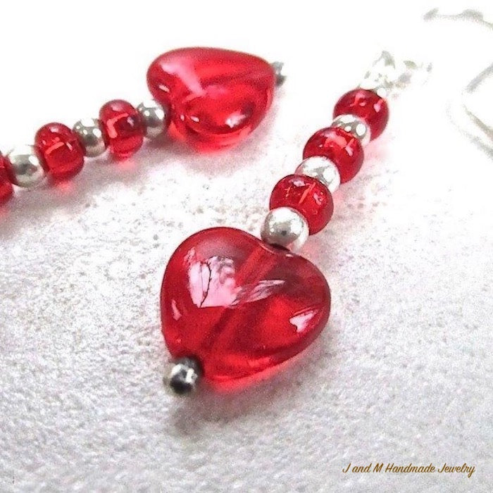 Valentines Day Jewelry Red Hearts Sterling Silver Earrings