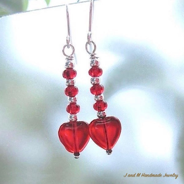 Handmade Valentines Jewelry Red Hearts Sterling Silver Earrings