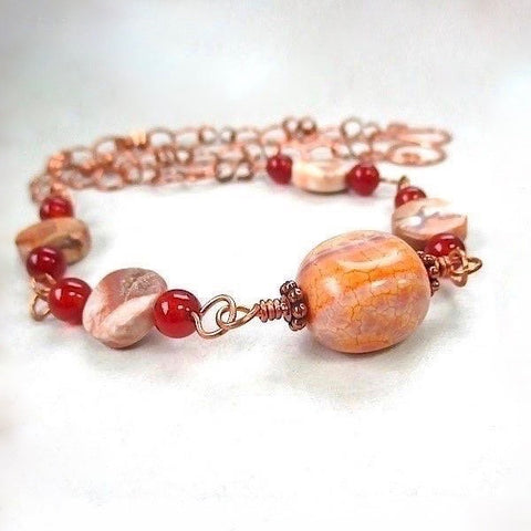 Earthy Red Orange Brown Gemstone Necklace Boho Beaded Copper Chain
