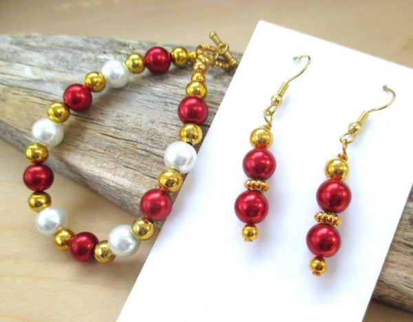 Red White Pearls and Gold Jewelry Set Beaded Bracelet & Dangle Earrings