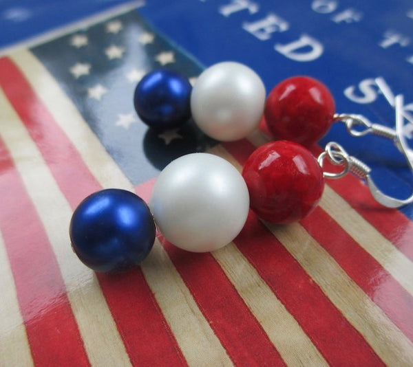 Patriotic American Earrings Red White and Blue Jewelry for USA holidays