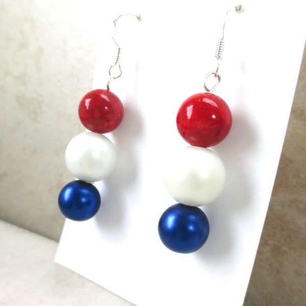 July 4th Earrings Handmade Jewelry by J and M for Rough Magic Creations on Prospero Lane
