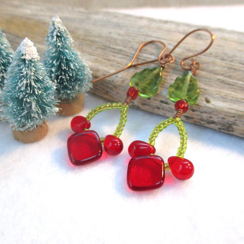 Extra long earrings in red and green holiday colors, Christmas jewelry for women, handmade with Czech glass and copper.