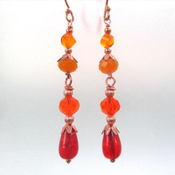 Tropical Citrus Earrings Shoulder Dusters with Orange, Apricot, Copper