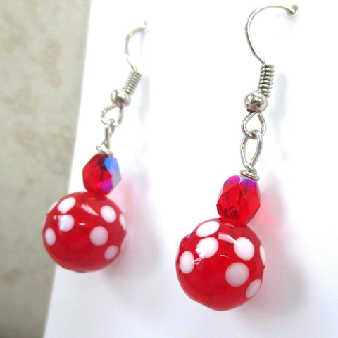 Festive Red and White Earrings, Christmas holiday and Valentine's Day, Floral Lampwork and clear Czech glass are lovely all occasion fashion accessories for women. Designed by Rough Magic Holidays for J and M Handmade Jewelry, handcrafted in Maine, USA.
