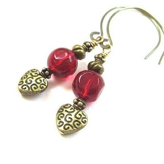 Romantic Heart Earrings, Antiqued Brass, Chunky Red Dangles, lovely Christmas jewelry and Valentine's Day gifts for women who love modern jewelry with a touch of Renaissance in the design. And ruby is the color of the July Birthstone, so these make a lovely present for her birthday. Made in America, Designed by Rough Magic Holidays for J and M Handmade Jewelry, handcrafted in Maine, USA.
