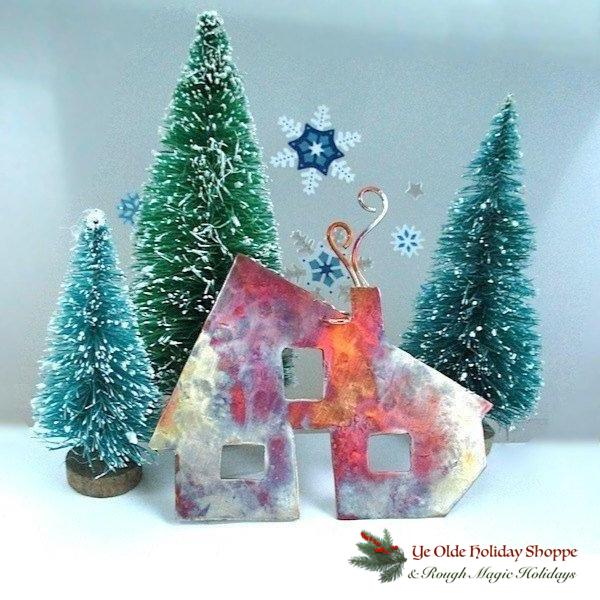 I'll Be Home for Christmas. Whether celebrating the Holidays in your own nest or far away, our rustic copper house ornament turns any dwelling- rural, urban, suburban- into Home Sweet Home.  Hand cut (no laser involved) of recycled metal, stone pounded and fire washed, each eco-friendly, sustainable decoration will be unique in texture, colors and patina.
