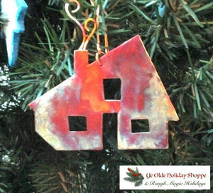 Rustic Copper Country Cabin Christmas Tree Decoration
