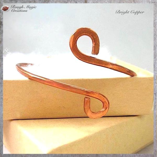 Simple Copper Cuff Bracelet, Minimalist Metal Jewelry for Men and Women