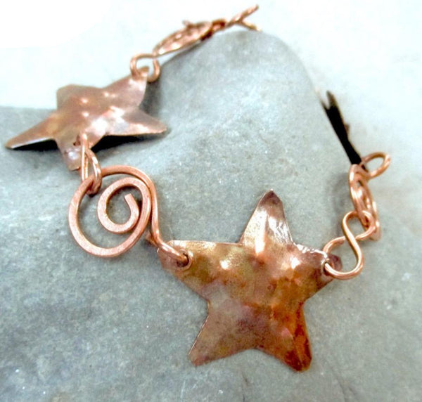 Antique Copper Starfish Bracelet, Rustic Metalwork Jewelry
