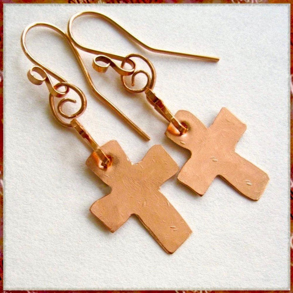Gifts for Christian women, our Rustic Cross Earrings are religious, inspirational statement jewelry, hand forged of recycled industrial copper. Designed and individually handcrafted by Mollie Meserve for Rough Magic Creations, they are made in America, Down East Maine, USA.