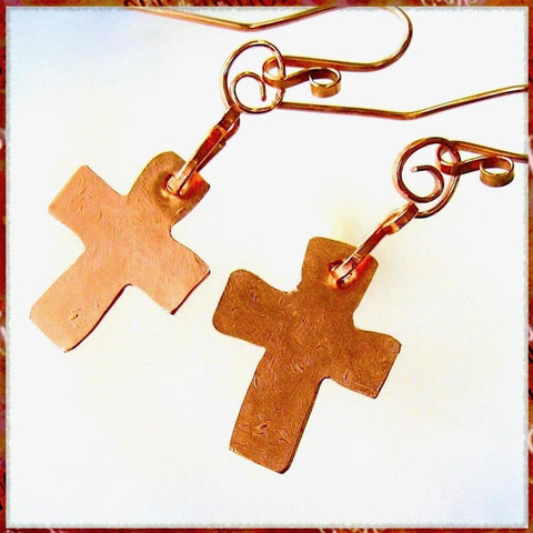 Gifts for Christian women, our Rustic Cross Earrings are religious, inspirational statement jewelry, hand forged of recycled industrial copper. Designed and individually handcrafted by Mollie Meserve for Rough Magic Creations, they are made in Down East Maine, USA.