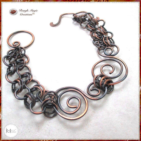 Rustic Dark Antique Copper Chain Bracelet