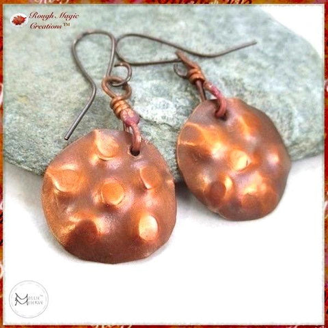 Rustic Earrings with Antique Copper Metalwork Dangles