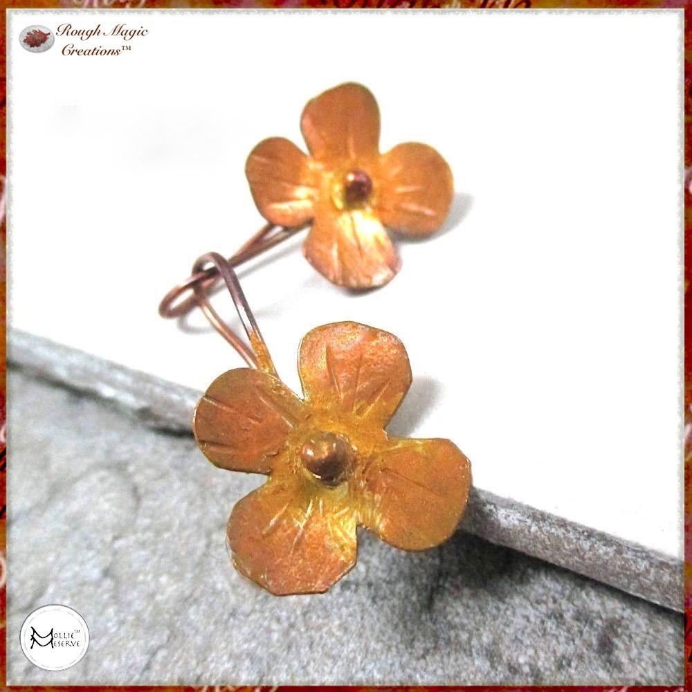 Rustic Floral Earrings with Hand Forged Copper Flowers Primitive Metalwork jewelry handmade jewelry by Mollie Meserve Designs for Rough Magic Creations.