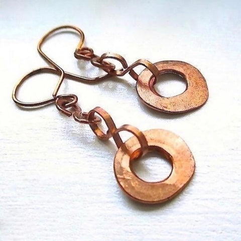 Rustic Primitive Copper Earrings Hand Forged Hammered Metalwork Long Boho Dangles, handmade jewelry for women