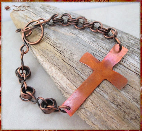 Sideways Cross Bracelet Antique Copper Chain