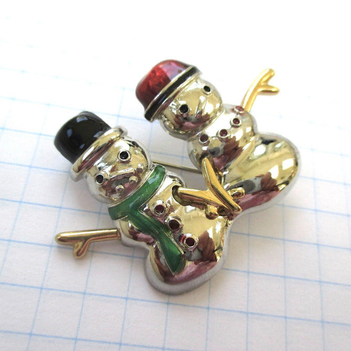 Snowman Brooch Silver Gold Mixed Metal jewelry for women signed Liz Claiborne, LC signature, Christmas holiday pin, winter fashion, 1990s vintage, cute pin for her