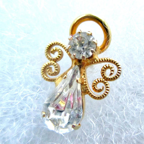 Small Angel Brooch Gold Vermeil Filigree Clear Crystal Rhinestone Christmas holiday pin, vintage late 20th century religious inspirational jewelry for women and teenage girls. Made in USA. Mint condition sweet little angel lapel pin for her.