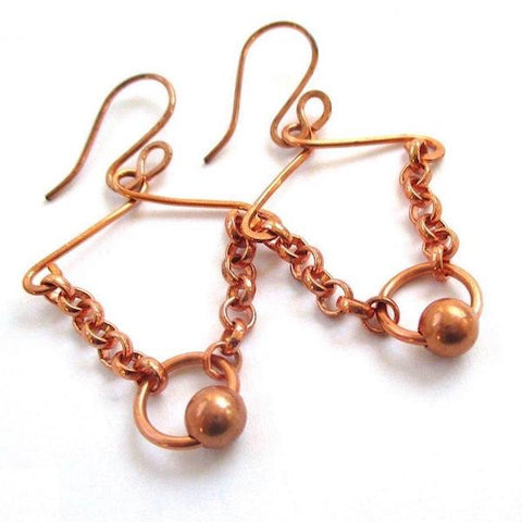 Solid Copper Chain and Bead Earrings