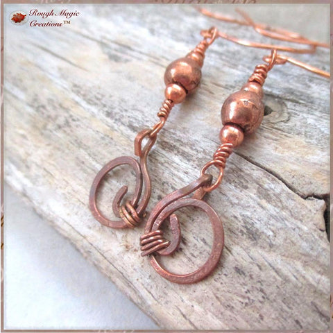 Solid Copper Earrings, Long Boho Dangles, Rustic Shoulder Dusters Handmade Forged Jewelry by Rough Magic Creations