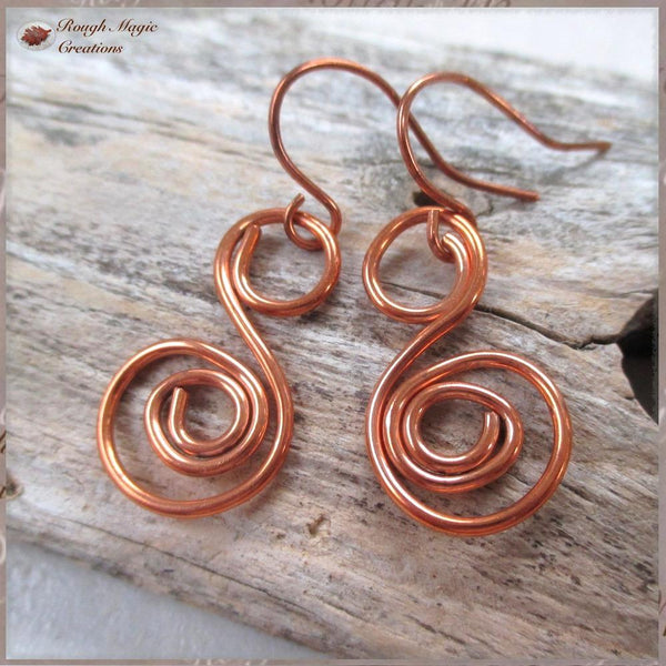 Solid Copper Earrings, Spiral Swirl Dangles