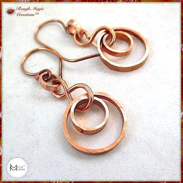 Solid Copper Earrings with Double Ring Dangles