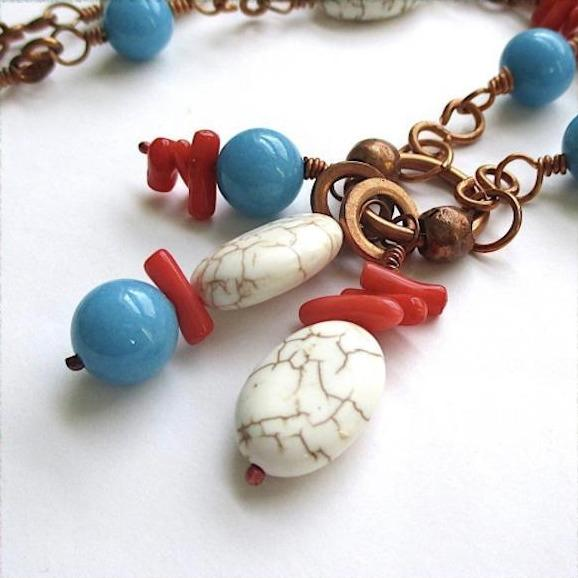 Southwestern Gemstone Necklace, Copper Pendant, Turquoise Red White