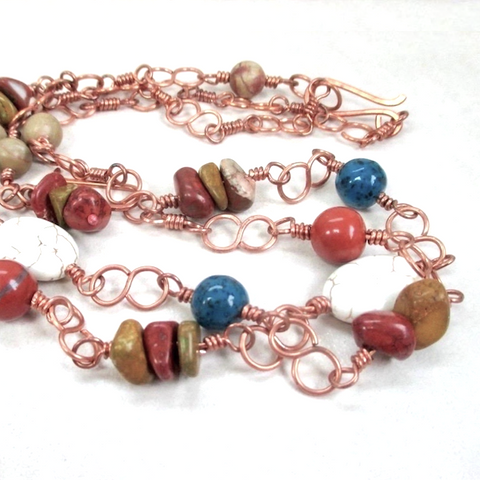 Southwestern Gemstone and Copper Chain Necklace