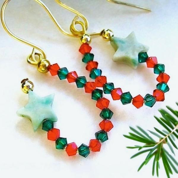 Starry Stars Christmas Earrings, Gemstones, Red & Green Crystals, Gold Filled Beads, Elegant Holiday Fashion Colors, Jewelry Handmade in Maine, USA, by J and M Handmade Jewelry for women.