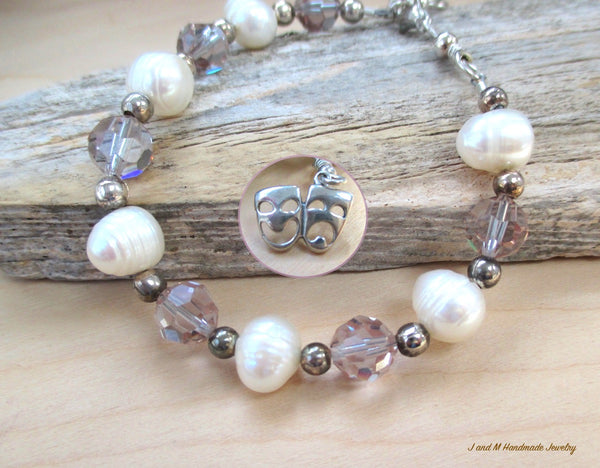 Theatre Lovers Bracelet with Pearls, Crystals, Sterling Silver, Tragedy & Comedy Charm