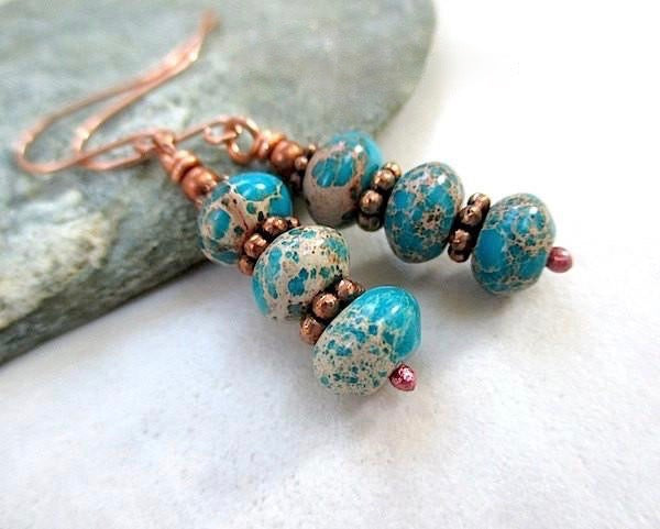 Matrix turquoise jasper gemstone dangle earrings, blue green stones and rustic antiqued copper, statement earrings, colorful boho rustic fashion jewelry for women designed and handcrafted by Rough Magic Creations. Made in Maine USA, handmade in America.