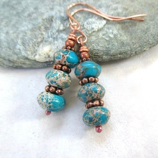 Turquoise Jasper Stone & Copper Earrings