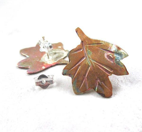 Copper Leaves Earrings Metalwork Maple Leaf