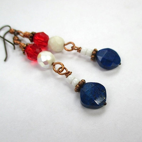 Yankee Doodle Dangle Patriotic Earrings Red White & Blue Lapiz Lazuli